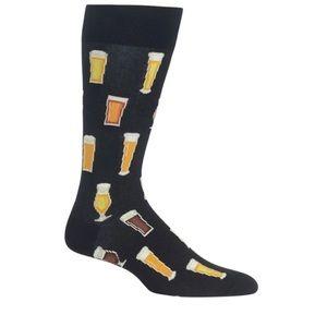 BEER MEN'S BLACK CREW SOCKS sock size 10-13